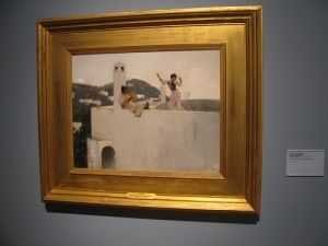 Sargent is best known for his insightful portraits. His usual studied approach is abandoned here to capture a fleeting voyeuristic moment. It is a painting that pulls you closer and simultaneously keeps you at a distance.
